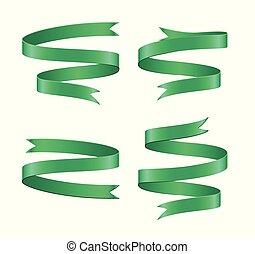 Set of light green ribbon on white background