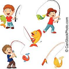 Set of little boys fishing - Vector illustration of Set of ...