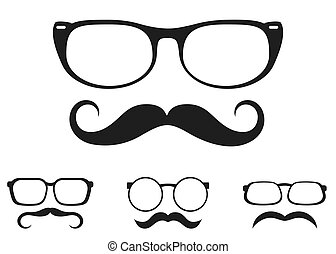 vector illustration of set of mustache and glasses icon