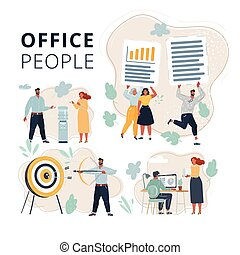 Vector illustration of Set of office people teamwork scene in office. People on dark background. Office team working at workspaces. Work with files, cooler, aim and bow arrow