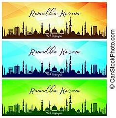 Set of Ramadan Kareem banners - Vector illustration of Set...