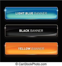 Vector illustration of Set of realistic glass banners for your design.