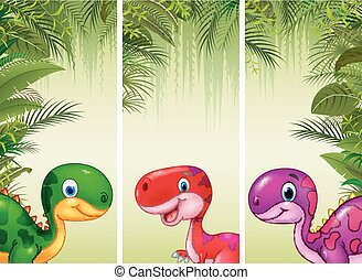 Set of three cartoon dinosaurs