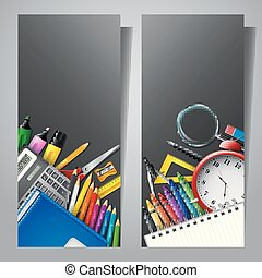 Set of two vertical banners with school supplies