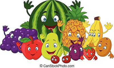 Set of various funny cartoon fruits