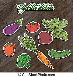 vector illustration of set of vegetable stickers- beet, carrot, broccoli, cucumber, tomato, pepper and eggplant on wooden backdrop