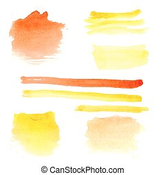 Set of watercolors on white background