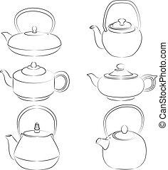 Vector illustration of set teapot silhouette