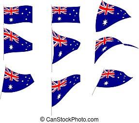 Vector Illustration of Set with Australia Flag