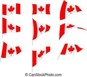 Vector Illustration of Set with Canada Flag