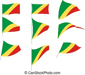Vector Illustration of Set with Congo Republic Flag