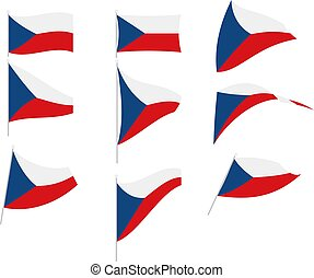 Vector Illustration of Set with Czech Republic Flag