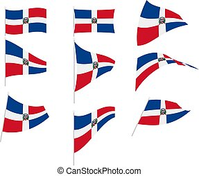 Vector Illustration of Set with Dominican Republic Flag