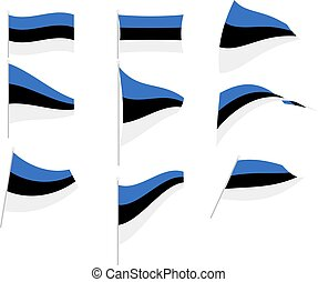 Vector Illustration of Set with Estonia Flag