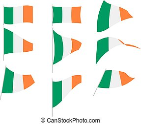 Vector Illustration of Set with Ireland Flag