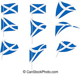 Vector Illustration of Set with Scotland Flag