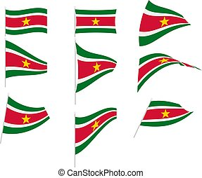 Vector Illustration of Set with Suriname Flag
