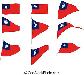 Vector Illustration of Set with Taiwan Flag