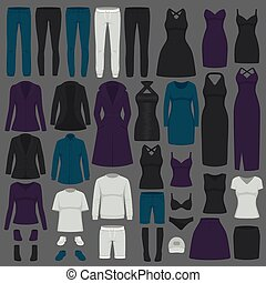 vector illustration of  set women fashion clothes