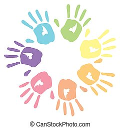 Vector illustration of seven colorful hand prints in circle