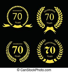 Vector illustration of seventy years  anniversary signs  laurel gold set on a black background.