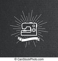 sewing machine label - vector illustration of sewing machine...