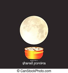 Vector Illustration of Sharad Purnima which is a harvest festival celebrated on the full moon day.