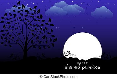 Vector Illustration of Sharad Purnima which is a harvest festival celebrated on the full moon day