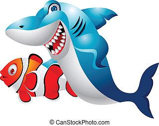 Shark with clown fish