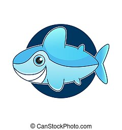 Vector illustration of shark with open mouth full of sharp teeth, isolated on a white background. Shark attacks from