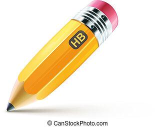 yellow pencil - Vector illustration of sharpened fat yellow...