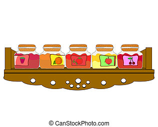Vector illustration of shelf cupboa