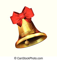 Vector illustration of shiny golden Christmas bell decorated with red bow