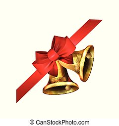 Vector illustration of shiny golden Christmas bells