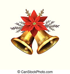 Vector illustration of shiny golden Christmas bells decorated with red bow poinsettia