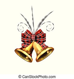 Vector illustration of shiny golden Christmas bells decorated with red bow