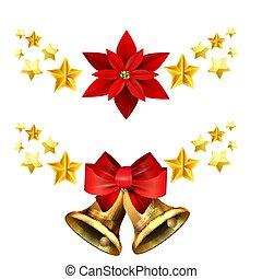 Vector illustration of shiny golden Christmas decoration with stars set poinsettia