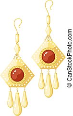 Vector illustration of shiny golden earrings on a white background. Cartoon style earrings with