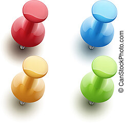 Vector illustration of shiny push pins in a variety of bright colors isolated on white background.