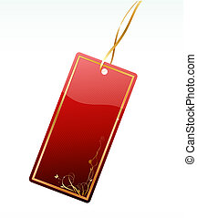 price tag - Vector illustration of shiny red price tag with...