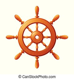Ship wheel marine wooden vintage isolated on white background
