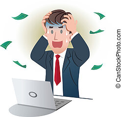 Vector illustration of Shocking businessman holding the head