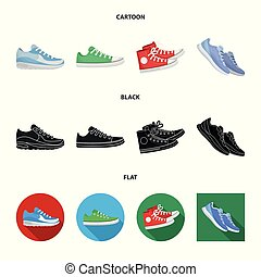 Vector illustration of shoe and sport logo. Collection of shoe and fitness stock symbol for web.