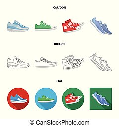 Vector illustration of shoe and sport logo. Collection of shoe and fitness vector icon for stock.