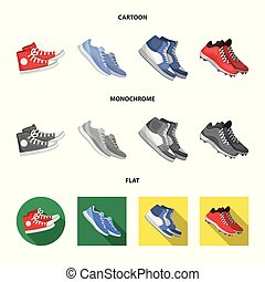 Vector illustration of shoe and sport sign. Collection of shoe and fitness stock symbol for web.