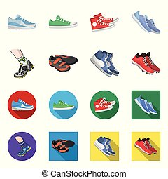 Vector illustration of shoe and sport sign. Set of shoe and fitness stock symbol for web.