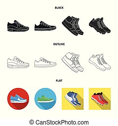 Vector illustration of shoe and sport symbol. Collection of shoe and fitness vector icon for stock.