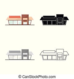 Vector illustration of shop and facade sign. Collection of shop and exterior stock vector illustration.