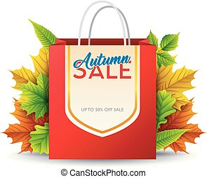 Shopping bag with autumn sale isolated on white background