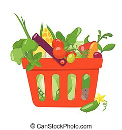 Vector illustration of shopping  bag with food.